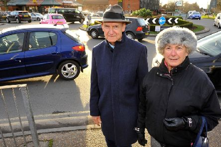 Council leader Pru Moore and councillor Richard Cherry by McDonalds. Photo by Steve Robards