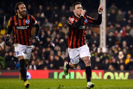 Adrian Colunga celebrates scoring a goal for Brighton. Picture by Getty Images