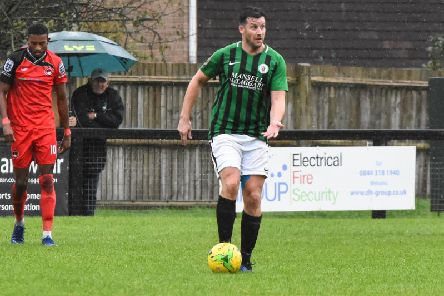 New signing Scott Kirkwood in action for Burgess Hill Town against Phoenix Sports on Saturday. Picture by Chris Neal