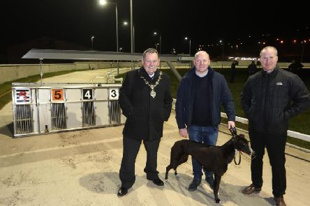 Mayor of Derry City and Strabane, Councillor Maolosa McHugh pictured with Daniel McLaughlin, Brandywell Greyhound Racing Company, and Steve Setterfield, Operations Manager, Derry City and Strabane District Council.