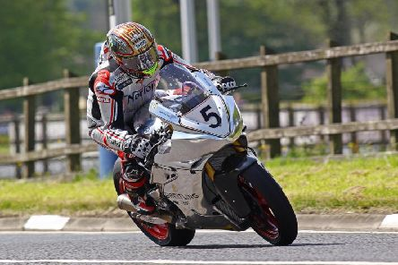 John McGuinness on the Norton SG8 Superbike during practice on Tuesday at the North West 200.