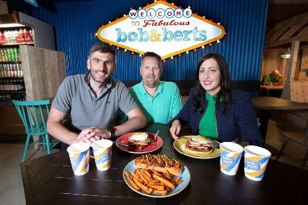 Pictured (L-R) at the opening of the new Bob & Berts coffee shop in Portstewart are owners David Ferguson and Colin McClean with Gemma Jordan, Senior Relationship Manager, Commercial Banking NI at Ulster Bank.