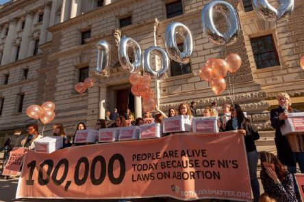 A group of women marched on Parliament on 26 February 2019, to highlight the 100,000 people they estimate are alive today because of Northern Ireland's restrictive abortion laws.'The march was lead by 10 women each holding a box representing 10,000 people, as organised by pro-life group, Both Lives Matter.