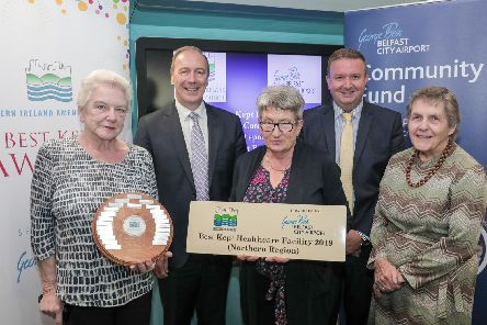 Pat Harris and Ann Fields from Moneymore Medical Centre receiving their award from Seamus McGoran, Chief Executive of the South Eastern Healthcare Trust, Stephen Patton, CR and HR Manager at George Best Belfast City Airport and Doreen Muskett, President of the Northern Ireland Amenity Council (NIAC).