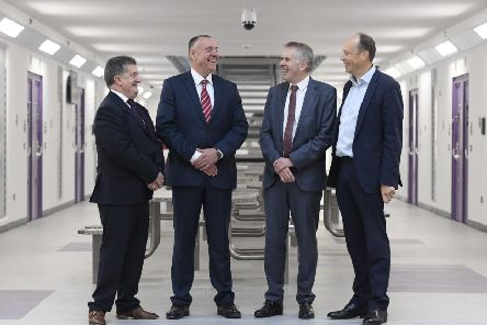 Pictured in the new Davis House are (from left) Ronnie Armour, Director General of the Northern Prison Service, David Kennedy, Governor Maghaberry Prison, David Sterling, Head of NI Civil Service and Peter May, Permanent Secretary, Department of Justice. Picture: Michael Cooper