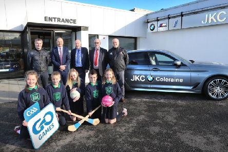 Children from St Malachys Primary School, Coleraine joined Derry senior football manager Rory Gallagher, Niall MacFlynn, Head of Business JKC BMW, Jack Cassidy Managing Director of JKC BMW, Brian Smith, Chairman Derry GAA, and Sean Keane, Secretary Derry GAA, to launch the new JKC BMW sponsorship of Go-Games in the Oakleaf County