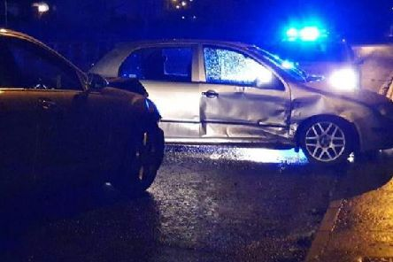 PSNI picture of two car crash in Magherafelt.