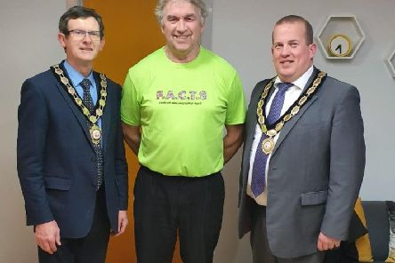 Pictured at the opening of the FACTS office in Magherafelt are Mid Ulster Council Chair, Councillor Martin Kearney, Tommy and Cllr Clement Cuthbertson Vice Chair of the Council.