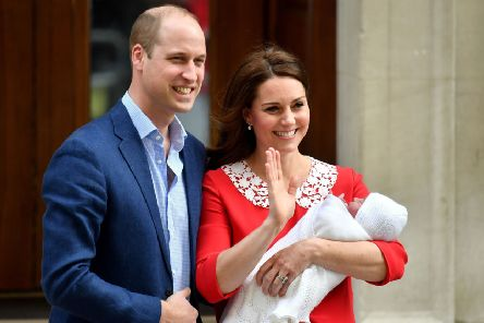 The Duke and Duchess of Cambridge and their newborn son outside the Lindo Wing at St Mary's Hospital in Paddington, London. PRESS ASSOCIATION Photo. Picture date: Monday April 23, 2018. See PA story ROYAL Baby. Photo credit should read: Dominic Lipinski/PA Wire PPP-180427-103641001