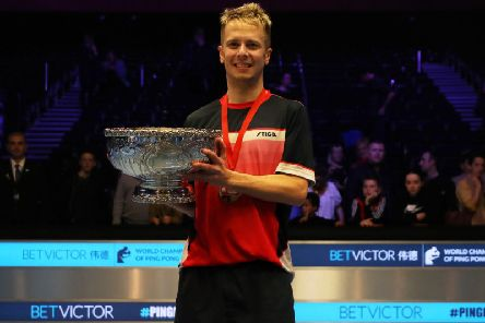 Andrew Baggaley celebrates his World Ping Pong title win
