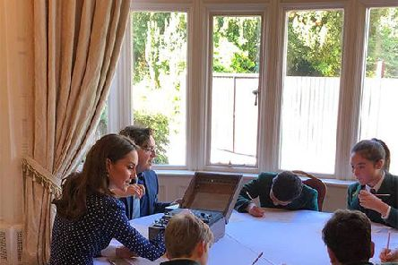The Duchess of Cambridge working alongside Akeley Wood School pupils at Bletchley Park