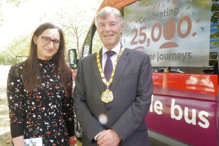 25,000th MyBus user Fatima Baig and Mayor of Milton Keynes, Cllr Sam Crooks