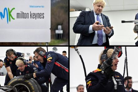 PM Boris Johnson takes a General Election pit stop in MK at Red Bull Racing