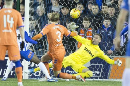 Rangers Allan McGregor makes a  save during the Scottish Cup fifth round clash at Kilmarnock