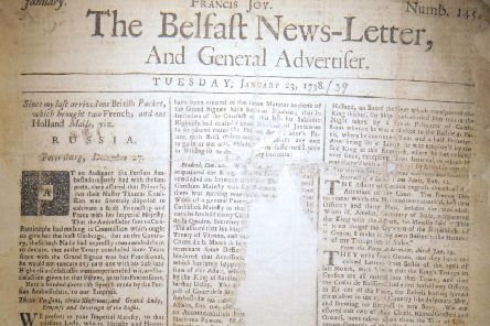 Front page January 23 1738 Belfast News Letter. The edition is in bad condition, which sections missing. The paper is equivalent to February 3 2019 in the modern calendar