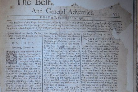 Belfast News Letter February 16 1738 (February 27 1739 in the modern calendar). The paper is ripped at points. This is the earliest surviving paper after the title went up from one smaller sheet, with two sides of news, to a larger one that was folded to give four sides of news