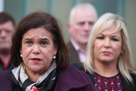 Sinn Fein President Mary Lou McDonald with Michelle O'Neill at a press conference at Shaftesbury Recreational Centre in the Lower Ormeau area of South Belfast