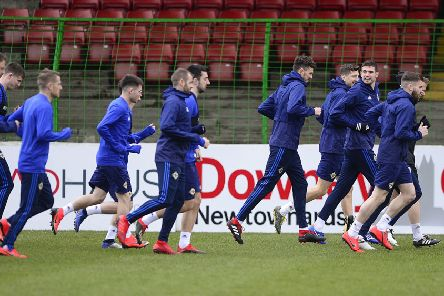 Northern Ireland players pictured during open training session on Monday ahead of the games against Estonia and Belarus in the Euro 2020 Qualifying