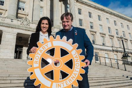 Sherya Simran Ghaie from Coleraine took part in Rotary Ireland's Youth Leadership Development Competition which saw her win the experience of a lifetime where she travelled to Strasbourg along with 24 of her peers from across Ireland and over 600 students from the rest of Europe to debate on the issues of today at the EU Parliament. Shreya is pictured with William Cross, Incoming District Governor for Rotary Ireland, For further information please visit www.Rotary.ie