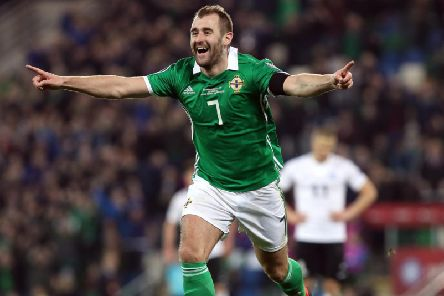 Niall McGinn celebrates his goal