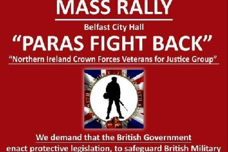 Poster advertising the veterans' rally in Belfast city centre