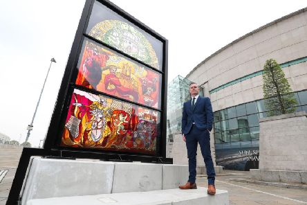 Ciaran Doherty, Tourism Ireland Stakeholder Liaison Manager  Northern Ireland, pictured at the second of Tourism Irelands Glass of Thrones installations at the Waterfront Hall. Picture by Kelvin Boyes, Press Eye