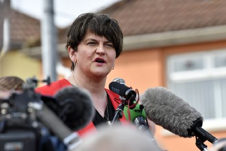 DUP Leader Arlene Foster speaking at the vigil for Lyra McKee in the Londonderry