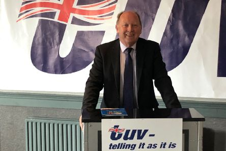 Jim Allister at the launch of TUV's 2019 council manifesto