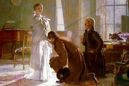 Victoria receives the news of her accession from Lord Conyngham (left) and the Archbishop of Canterbury. The young Queen immediately helped restore the prestige of the monarchy after the scandalous reigns of George IV and William IV