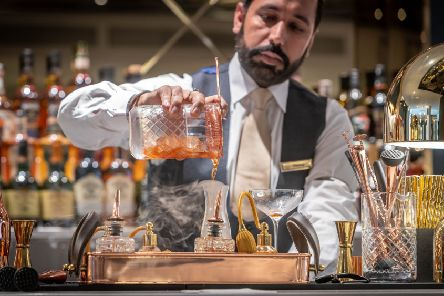 A barman creates a special cocktail at the bar of The Morgan Hotel in Dublin