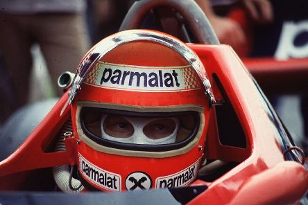 1978:  Champion motor racing driver Niki Lauda of the Parmalat racing team in his F1 Brabham Alfa Romeo during the British Grand Prix at the Brand's Hatch motor-racing circuit in Kent.  (Photo by Hulton Archive/Getty Images)