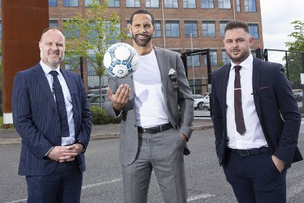 Rio Ferdinand with Shane Smith from the Innovation Factory (left) and former professional player Lee Mudd who heads up New Era's Belfast office