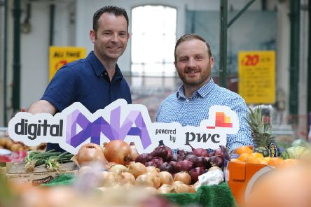 Seamus Cushley, director of ventures and blockchain at PwC, left, with Digital DNA CEO Simon Bailie at St George's Market, Belfast