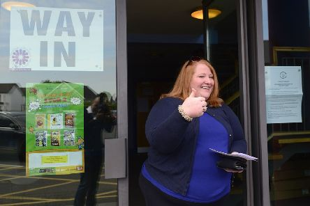 Alliance Party leader Naomi Long at the polling station on Thursday