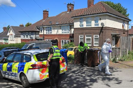 """Police at a property on Gregg House Road in Shiregreen, Sheffield, after six children were taken to hospital following a """"serious incident"""".  Two of the children were confirmed to have died. Two people have been arrested."""