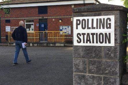 A voter at Belmont Primary School poling station, east Belfast
