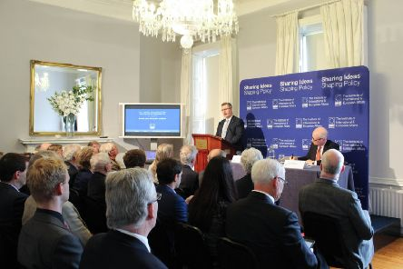Sir Jeffrey Donaldson MP speaks to the Institute of International and European Affairs in Dublin on Thusday June 13 2019. Pic Lorcan Mullally, IIEA