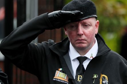 Members of 'D Company' at the republican Garden of Remembrance on the Falls Road, Belfast, during the funeral procession of former Provisional IRA leader Billy McKee.