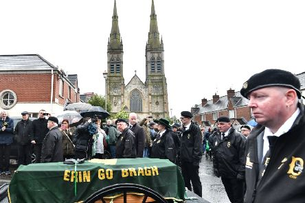 Saturday's funeral of IRA member Billy McKee at St Peter's Cathedral  in west Belfast on Saturday