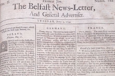 The Belfast News Letter of June 5 1739 (June 16 in the modern calendar)