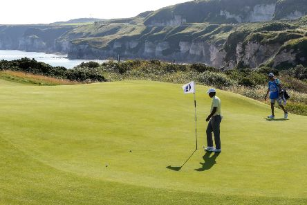 Tiger Woods during Monday's practice round at Royal Portrush. Pic by John Dickson.