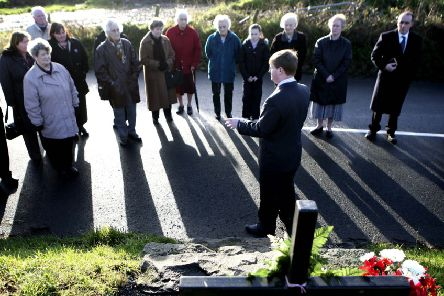 The late victims' campaigner Willie Frazer speaking to family and friends of the Kingsmills massacre victims during the 31st anniversary of the attack