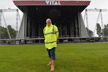 Event controller Paul Scott at the Boucher Road Playing Fields as preparations for Belfast Vital continue