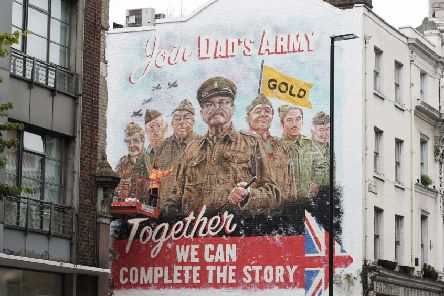 The mural celebrates the release of Dad's Army: The Lost Episodes on TV channel Gold