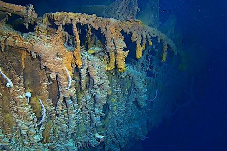 Photo issued by Atlantic Productions of new images of the side of the RMS Titanic in her resting place at the bottom of the North Atlantic Ocean
