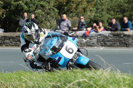 Michael Dunlop on the Team Classic Suzuki XR69 during Superbike practice on Friday. Picture: Dave Kneen/Pacemaker Press.