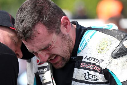 Michael Dunlop had to grit his teeth and battle through the pain barrier on Saturday as he set the fastest lap overall so far at the Classic TT on his Suzuki. Picture: Stephen Davison/Pacemaker Press.
