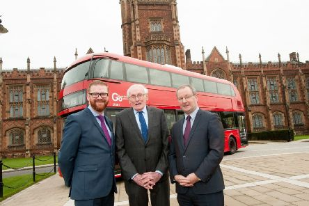 As the Wrights Group marked its 70th anniversary year in 2016, a new centre named after one of the company's founders was established at Queen's University Belfast, the William Wright Technology Centre.''Pictured from left are  Economy Minister Simon Hamilton,''Dr William Wright CBE, who founded the company with his father in 1946, and Queen's Vice-Chancellor Professor Patrick Johnston.