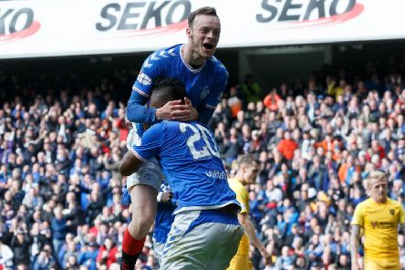 Brandon Barker celebrates in front of the Ibrox fans following his goal on Saturday. Pic by PA Wire.