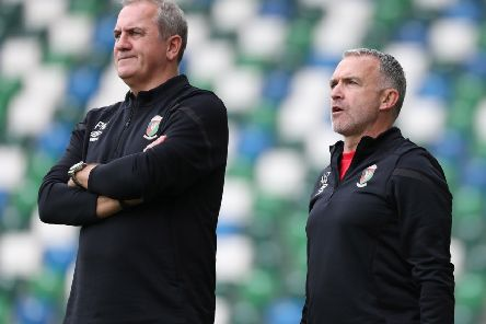 Glentoran head coach Mick McDermott (right) and first-team coach Paul Millar. Pic by Pacemaker.